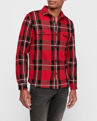 Express Slim Plaid Pocket Flannel Shirt Jacket