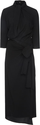 Prada Draped Chiffon Midi Dress