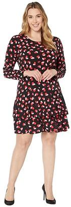MICHAEL Michael Kors Size Petal Passion Flounce Dress (Black Multi) Women's Dress
