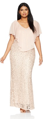 Marina Women's Size Plus lace Chiffon Popover Dress