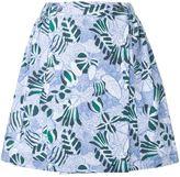 MAISON KITSUNÉ 'Lili' hibiscus wrap around skirt