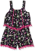Pumpkin Patch Girl's Floral Layered Playsuit Floral Overalls,6