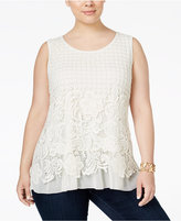 Style&Co. Style & Co. Plus Size Sleeveless Lace Blouse, Only at Macy's