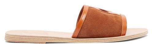 Ancient Greek Sandals Ilia Suede Slides - Womens - Dark Tan