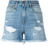 R 13 shredded slouch shorts - women - Cotton/Spandex/Elastane - 26