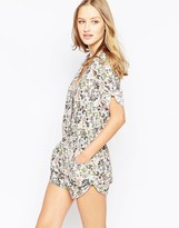 Traffic People Wrap Front Romper In Artistic Paisley Print