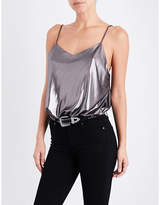 Free People Ladies Silver Contrast Bohemian Foil Babes V-Neck Metallic Body