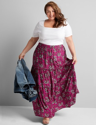 Lane Bryant Floral Tiered-Seam Maxi Skirt