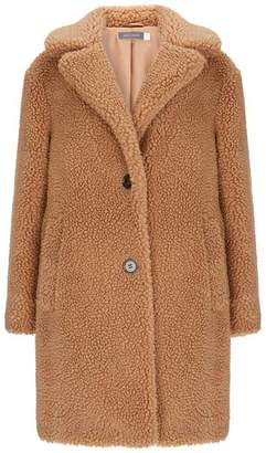 Mint Velvet Camel Teddy Faux Fur Coat