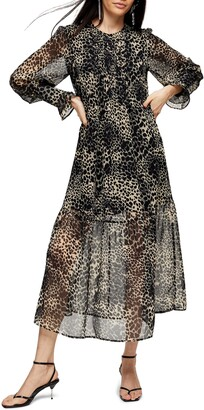 Topshop Long Sleeve Animal Print Midi Dress