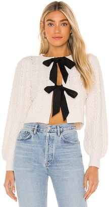 Alice + Olivia Kitty Puff Sleeve Cardigan