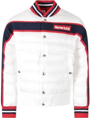 Moncler White Jacket For Boy With White Logo