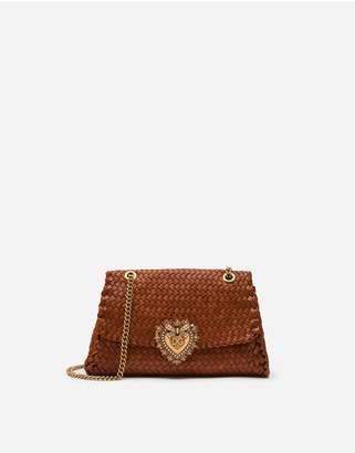 Dolce & Gabbana Large Devotion Shoulder Bag In Braided Nappa Leather