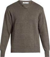 INIS MEÁIN Hurler V-neck linen sweater