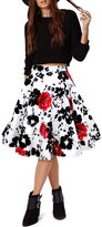 Black Butterfly Clothing Black Butterfly Vintage Full Circle 1950's Floral Skirt (Black - Large Red Roses, US 18)