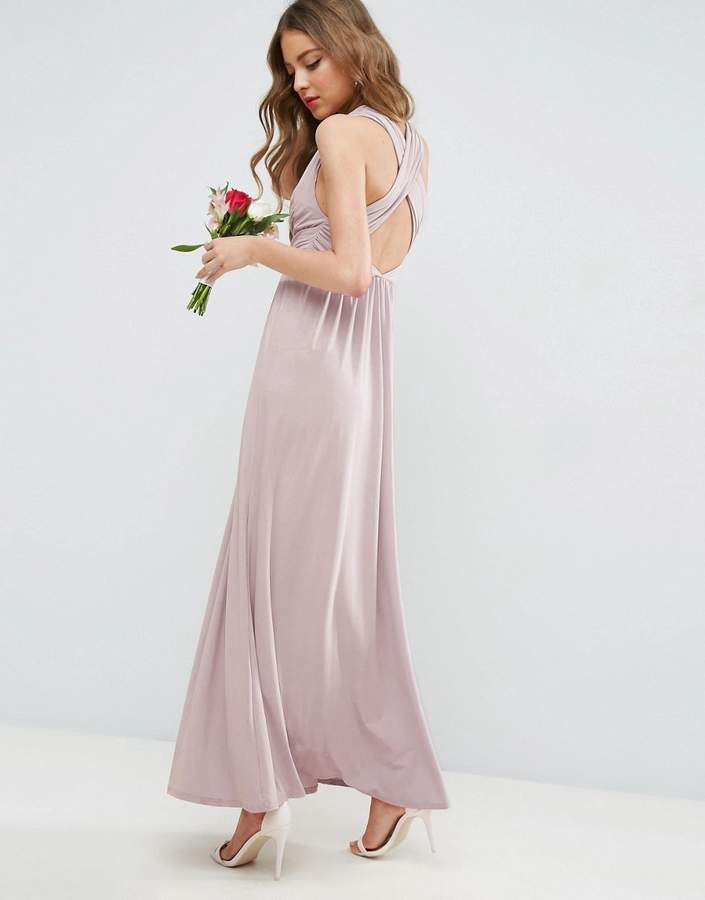 Asos Design DESIGN Bridesmaid drape twist back maxi dress
