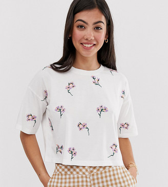 Asos DESIGN Petite boxy t-shirt with all over ditsy embroidery in white