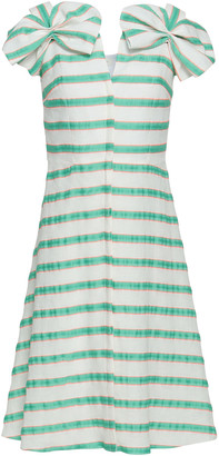 DELPOZO Bow-embellished Striped Linen-blend Dress