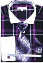 Sunrise Outlet Men`s Multi Color Check French Cuff Shirt Tie Hanky CuffLinks - Fuschia