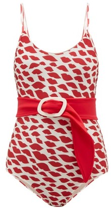 Adriana Degreas Belted Bacio-print Swimsuit - Womens - Red White
