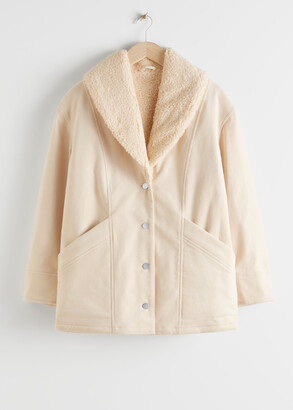 And other stories Organic Cotton Blend Shearling Collar Coat