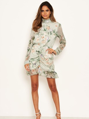 AX Paris Chiffon Printed Shirt Dress - Mint