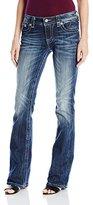 Miss Me Women's Flirty Fleur De Lis Mid- Rise Boot Cut Jeans