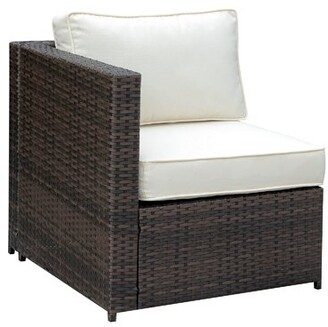 Ivy Bronx Middleburg Faux Rattan Right Arm Patio Chair with Cushions