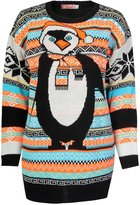 Fashion Box Womens Beautiful Aztec Penguin Print Knitted Christmas Jumpers