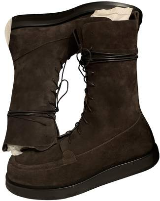 The Row Patty Brown Suede Ankle boots