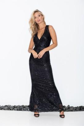 LIENA V-Wrap Black Sequin Maxi Dress