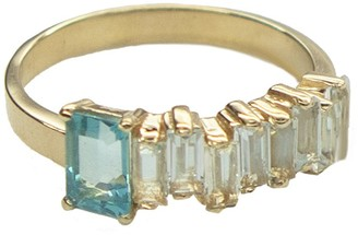 Suzanne Kalan One-of-A-Kind Blue Topaz and Green Amethyst with Paraiba Topaz Yellow Gold Ring