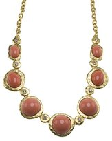 Kenneth Jay Lane Women's Satin Gold Plated Pink Coral Center Crystals Necklace of Length 41.91-50.8cm