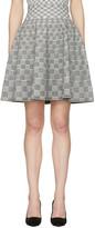 Alexander McQueen Black and Ivory Jacquard Check Volume Miniskirt