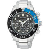 Seiko Mens Black Dial Two-Tone Stainless Steel Dive Solar Watch SSC017