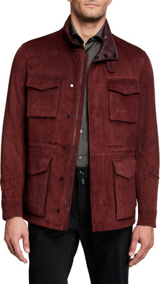 Stefano Ricci Men's Suede Field Jacket with Leather Lining