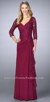 La Femme Cascading Ruffle Beaded Evening Dress
