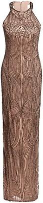 Rachel Gilbert Carrie Hand Embellished Halterneck Gown