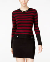 Amy Byer Juniors' Striped Tab-Waist Sweater Dress