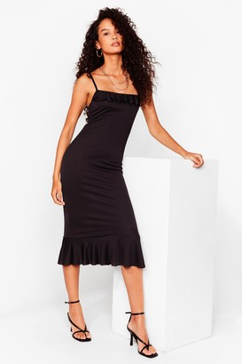 Nasty Gal Womens The Night's Frill Young Ruffle Midi Dress - Black - 4, Black