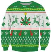 RAISEVERN Merry Christmas Claus Printed Casual Long Sleeve Christmas Sweater Shirts