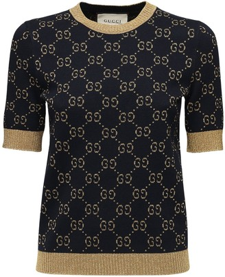 Gucci Gg Supreme Lurex & Cotton Knit Sweater