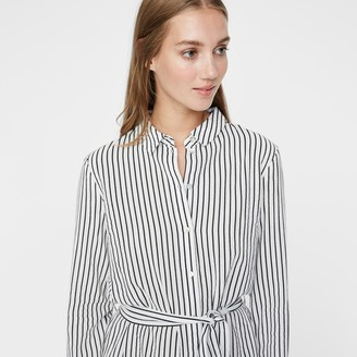 Vero Moda Knee-Length Shirt Dress in Striped Cotton with Tie-Waist