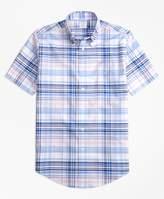 Brooks Brothers Non-Iron Regent Fit BrooksCool Plaid Short-Sleeve Sport Shirt