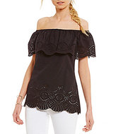 Gianni Bini Candace Off-the-Shoulder Eyelet Trim Blouse