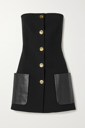 Proenza Schouler Strapless Leather-trimmed Wool-blend Crepe Top - Black