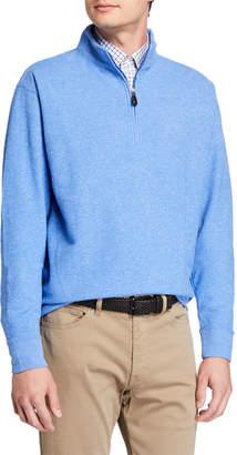 Peter Millar Men's Tri-Melange Fleece Quarter-Zip Sweater