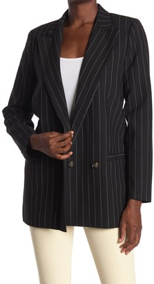 Ganni Pin Stripe Double Breasted Suiting Blazer