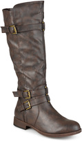 Journee Collection Brown Bite Wide-Calf Riding Boot