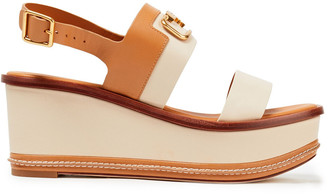 Tory Burch Selby 80 Embellished Color-block Leather Wedge Sandals